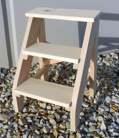 Handcrafted Pine Three Step Stool Unfinished от EmmersonWoodworks