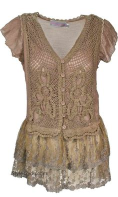 Pretty Angel Clothing Lillian Lace Blouse In Brown *63373BR