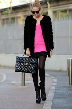 Bright pink sweater and Chanel bag (by Chiara Ferragni) http://lookbook.nu/look/2927791-Bright-pink-sweater-and-Chanel-bag