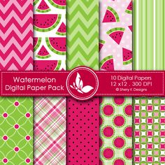 Watermelon - 10 printable High Quality Digital papers. check it in this link.   http://www.sherykdesigns.com/shop/all-products/watermelon/prod_246.html