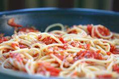 Spaghetti with Crab and Fresh Cherry Tomato Sauce - On Sugar Mountain