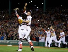 MLB Official Facebook  ALCS Tigers Red Sox Baseball  Boston Red Sox relief pitcher Koji Uehara, rear, and catcher Jarrod Saltalamacchia celebrate the Red Sox 5-2 win over the Detroit Tigers in Game 6 of the American League baseball championship series on Saturday, Oct. 19, 2013, in Boston. The Red Sox advance to the World Series. (AP Photo/Matt Slocum) AP2013