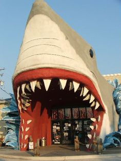 Why wouldn't you want to walk through the jaws of a shark to get your shopping on? TEXAS COAST - PORT ARANSAS, via Flickr.