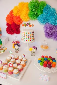 A Gorgeous Rainbow Lollipop Party by Jo Studio Concept & Styling - Jo Studio Photography - White Spark Photography Cakes & Sweets - Carli Milburn Dollhouse available for hire from Lola & Co Party Styling. Rainbow Party Decorations, Rainbow Parties, Rainbow Birthday Party, Rainbow Theme, 3rd Birthday Parties, Unicorn Birthday, Birthday Party Decorations, Diy Birthday, Rainbow Balloon Arch