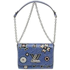 Preowned Louis Vuitton Blue Multicolor Epi Leather Twist Mm Azteque... (€3.800) ❤ liked on Polyvore featuring bags, handbags, shoulder bags, blue, blue purse, louis vuitton handbags, blue leather handbags, white shoulder bag and white leather shoulder bag