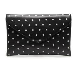 Invitation clutch in dot ($100) ❤ liked on Polyvore featuring bags, handbags, clutches, purses, leather clutches, real leather handbags, j crew purse, leather hand bags and leather handbag purse