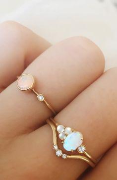 Opal & diamond rings