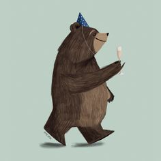 Champagne Bear - ILLUSTRATION by Pencil Pocket