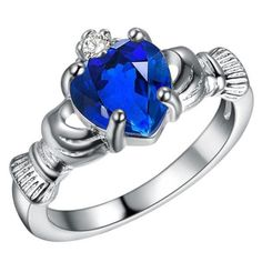 Royal Blue Claddagh Promise Rings With My Hands Give You My Heart