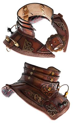 Handcrafted Leather Steampunk Armour Gorget Collar by Angel Clothing £249.99