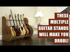 Feast your eyes on the best multiple guitar stands around. These wood beauties will hold your electrics, acoustics, basses and banjos. They are the most sturdy and decorative multi stands you will find. Guitar Storage, Banjos, Acoustic, Flooring, Make It Yourself, Eyes, Wood, Home Decor, Decoration Home