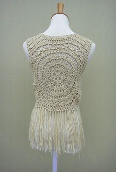 Hippie Fringe Sleeveless Crochet Short Cardigan by TinaCrochet2016