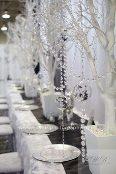 White, silver & crystal wedding design.