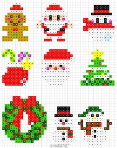 La magie de Noël en perles Hama - The magic of Christmas in Hama beads - Perler Bead Designs, Hama Beads Design, Pearler Bead Patterns, Perler Bead Art, Perler Patterns, Hama Beads 3d, Pixel Art Noel, Christmas Perler Beads, Crochet Christmas