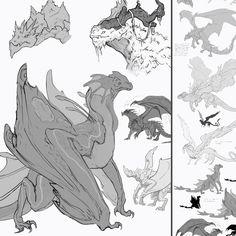 Concept Sketches - Dragons, Lucas Parolin on ArtStation at https://www.artstation.com/artwork/24YZv