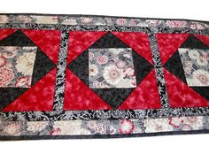 Elegant Quilted Table Runner Floral with by ForgetMeNotQuilteds