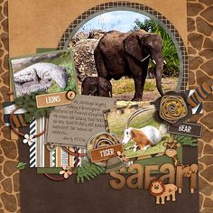 safari scrapbook page layouts - Yahoo Image Search Results Vacation Scrapbook, Disney Scrapbook Pages, Baby Scrapbook, Scrapbook Paper Crafts, Scrapbook Cards, Scrapbook Designs, Scrapbook Page Layouts, Scrapbooking Ideas, Disney Cards