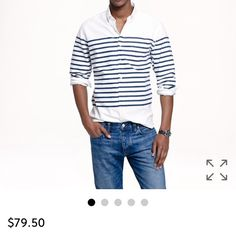 Men's J. Crew striped Oxford shirt MEN's J. Crew shirt• Oxford style• white • navy blue horizontal strips• chest pocket• long sleeve • Sz S• slim fit• excellent 10/10 condition• NWOT J. Crew Tops Button Down Shirts