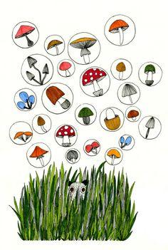 Mr.Master and mushrooms Art Print