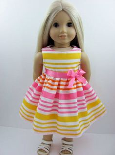 Summer Stripe Doll Dress for the American Girl Doll
