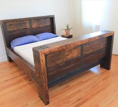 This custom made bed frame is constructed with year old reclaimed Douglas Fir beams, handcrafted steel detail throughout and finished in polished satin urethane. This very unique bed frame is made to order and available from Twin to California King. Rustic Bedroom Furniture, Rustic Bedding, Wood Bedroom, Bedroom Sets, Bedrooms, Cama Industrial, Unique Bed Frames, Reclaimed Wood Bed Frame, Pine Bed Frame