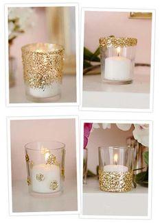 velas decoradas com purpurina