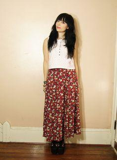 90s Grunge Maxi Skirt Floral Vintage Red Boho by WhiteWaveVintage