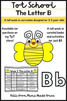 For just $5 you can purchase a full week of letter B curriculum. This curriculum comes with a week calendar full of books and activities all themed around the letter B and based off the early learning standards! #ToddlerCurriculum #TpT #LetterB