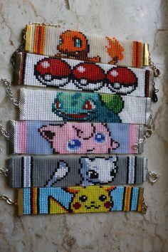 Items similar to Pokemon bracelet Pikachu Jigglypuff Charmander Mew Bulbasaur Geek Nerdy cartoon- made to order- choose 1 on Etsy Loom Bracelet Patterns, Seed Bead Patterns, Bead Loom Bracelets, Beaded Jewelry Patterns, Peyote Patterns, Beading Patterns, Cross Stitch Patterns, Pikachu, Pokemon Craft