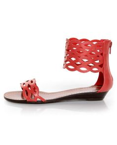 GoMax Sweet Dreams 08 Coral Red Laser Cutout Ankle Sandals #lovelulus