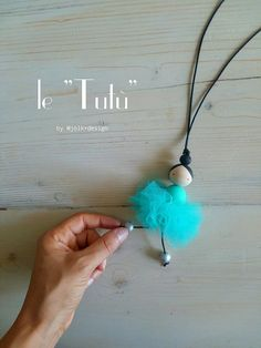 Tutu necklace hand-painted wooden ballerina by mjolkdesignlab