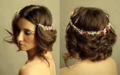 Un lindo tocado para novias de cabello corto