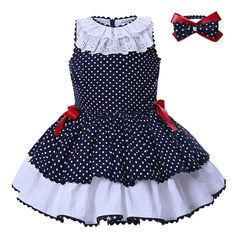 Cheap dresses for girls, Buy Quality baby dress for girl directly from China baby dress Suppliers: Pettigirl Baby Dresses For girls summer Clothes Navy blue Dots With Headwear Kids Princess Dress Girls Summer Outfits, Little Girl Dresses, Kids Outfits, Baby Outfits, Girls Dresses, Baby Dresses, Summer Clothes, Cheap Dresses, Peasant Dresses