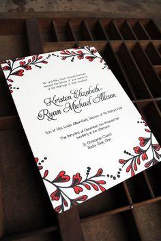 Kristen + Ryanu0027s Red And Black New Yearu0027s Eve Wedding Invitations