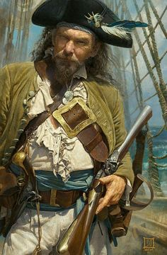 This painting is so real it looks like a photo. Sasha's Painting - Shiver Me Blunderbuss Sasha Beliaev & Lena Rivkina Pirate Art, Pirate Life, Pirate Crafts, Pirate Ships, Character Portraits, Character Art, Dark Fantasy, Fantasy Art, Golden Age Of Piracy
