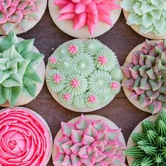 April's menu at Jenny Cookies Bake Shop welcomed back our Succulent theme from last year with a few updates and a fresh color palette. Our cupcakes are adorned with buttercream cactus and succulents. Flower Sugar Cookies, Sugar Cookie Royal Icing, Sugar Cookie Buttercream Frosting, Fancy Sugar Cookies, Buttercream Decorating, Cookie Decorating, Decorating Tips, Iced Cookies, Cupcake Cookies