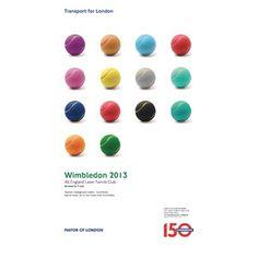 網球場的路上。to the tennis court: 溫布頓與倫敦地鐵150週年海報 - Wimbledon 2013 poster celebrating London Underground's 150th birthday