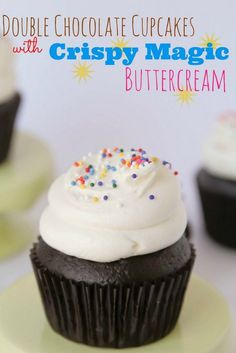Double chocolate cupcakes with crispy magic buttercream frosting recipe.  Ain't nothin wrong with a few cupcakes and a ton of frosting. I'm thrilled to say, it's quite possibly the best frosting I've ever had.