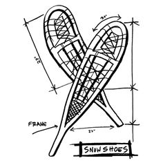 Tim Holtz Rubber Stamp 2014 SNOWSHOES SKETCH Stampers Anonymous P1-2421