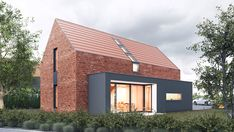 Mały dom z cegły w Kozłowie projektu pracowniINOSTUDIO architekci Home Fashion, Architecture Design, House Plans, New Homes, Barn, Cottage, Outdoor Structures, House Styles, Building