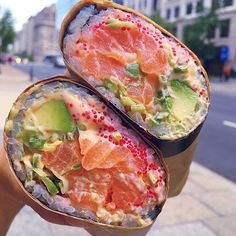 How delicious does this salmon avocado sushiritto look? Well it tastes amazing. … How delicious does this salmon avocado sushiritto look? Well it tastes amazing. What's your favourite kind of burrito? Cute Food, I Love Food, Good Food, Yummy Food, Tasty, Sushi Recipes, Cooking Recipes, Cucumber Recipes, Food Porn