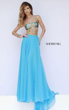 2015 Square-Neck Sherri Hill 32134 Beaded Cutout Blue Long Bodice Prom Dresses