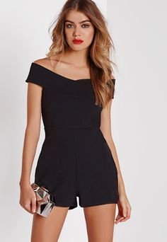 Ready to be playful? Look kick ass in this seductive black romper which comes in a cute bardot style playsuit. With an invisible back zip fastening and cross over detailing to the front, wear with strappy heels and a cute clutch for minima. Black Romper Outfit, Black Playsuit, Romper Dress, White Romper, Rompers Women, Jumpsuits For Women, Outfit Vestido Negro, Formal Romper, Summer Outfits