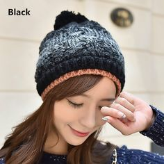 Gradient beanie hats Hairball winter hats for women bf9445234e72