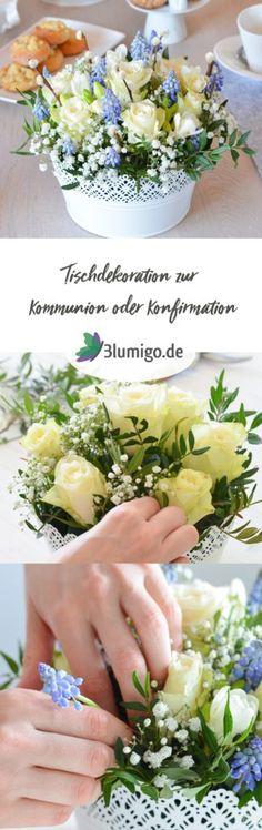 Tischdeko zur Kommunion oder Konfirmation selber machen - DIY Anleitung für eine blaue Tischdekoration. #blumen #schnittblumen #blumendeko #floristik #blumenstrauß #hochzeitsdekoration #hochzeit #hochzeitsdeko #boho #vintage #rosen #freesien #hyazinthen #blau #weiß #blau-weiß #kommunion #konfirmation #taufe