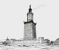A drawing of the Lighthouse of Alexandria by German archaeologist Prof. H. Thiersch (1909).