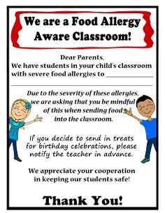 Thriving With Allergies: Food Allergy Aware Letter to Parents