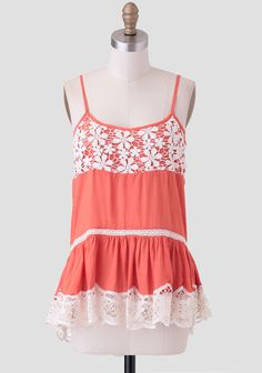 Tangerine Dream Crocheted Lace Tank at #Ruche @shopruche