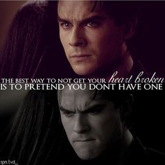 "#TVD The Vampire Diaries  Damon Salvatore(Ian Somerhalder)  ""The best way to not get your heart broken is to pretend you don't have one"""