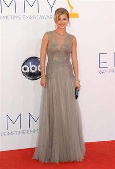 Emily VanCamp - Emmys 2012 Red Carpet: Photo Emily VanCamp looks lovely on the red carpet at the 2012 Emmy Awards held at the Nokia Theatre L. Live on Sunday (September in Los Angeles. Grey Chiffon Dress, Gray Dress, Dress Up, Grey Evening Dresses, Evening Gowns, Nice Dresses, Long Dresses, Long Gowns, Fabulous Dresses